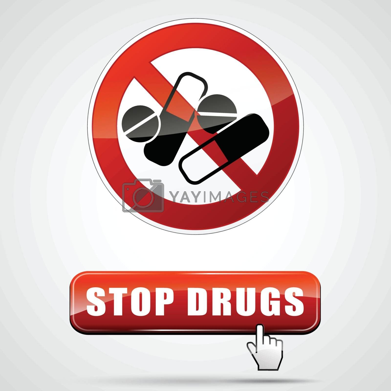 illustration of stop drugs sign with web button
