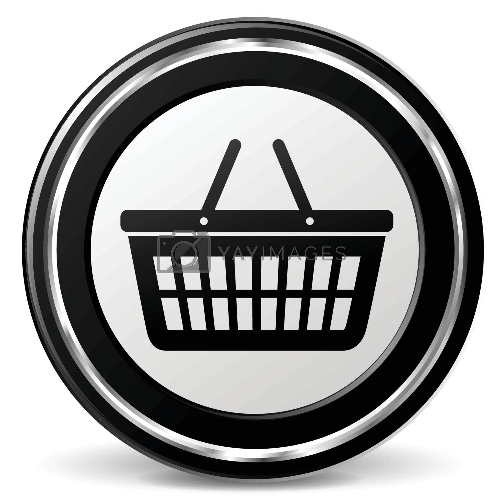 illustration of basket black and silver icon