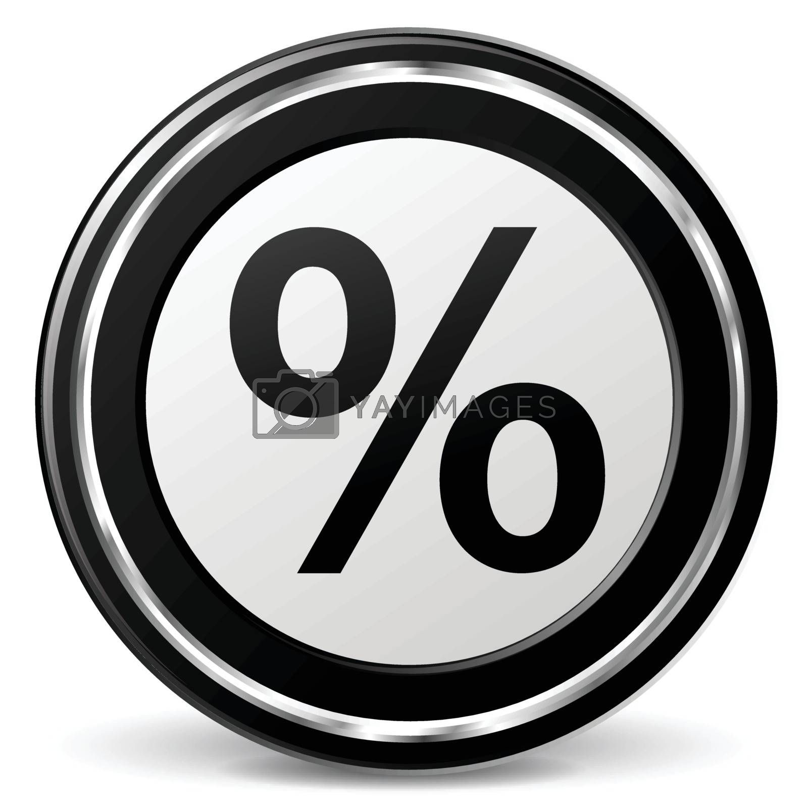 illustration of percentage black and silver icon