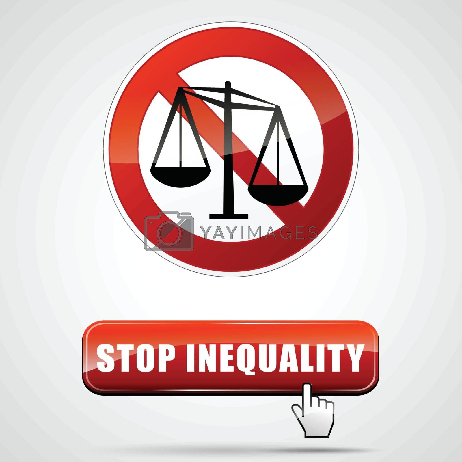 illustration of stop inequality sign with web button