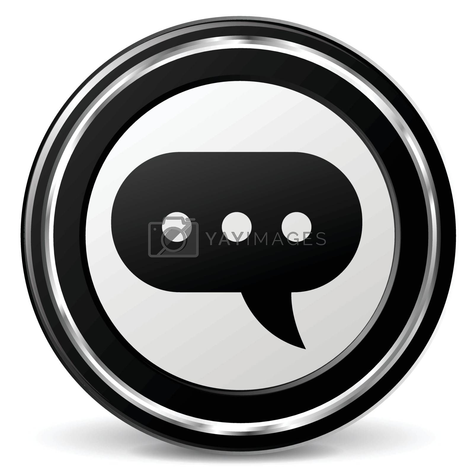 illustration of comment black and silver icon