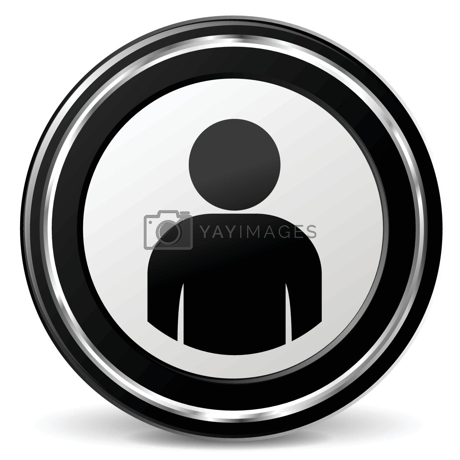 illustration of user black and silver icon