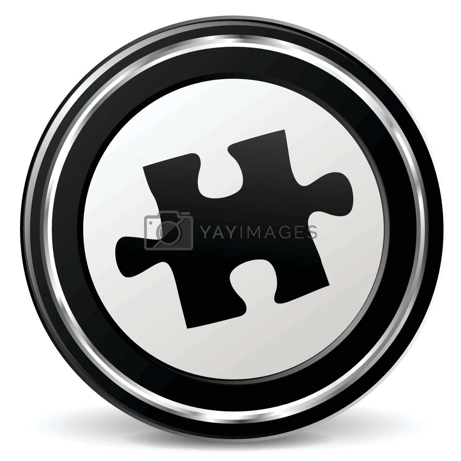 illustration of puzzle piece black and silver icon