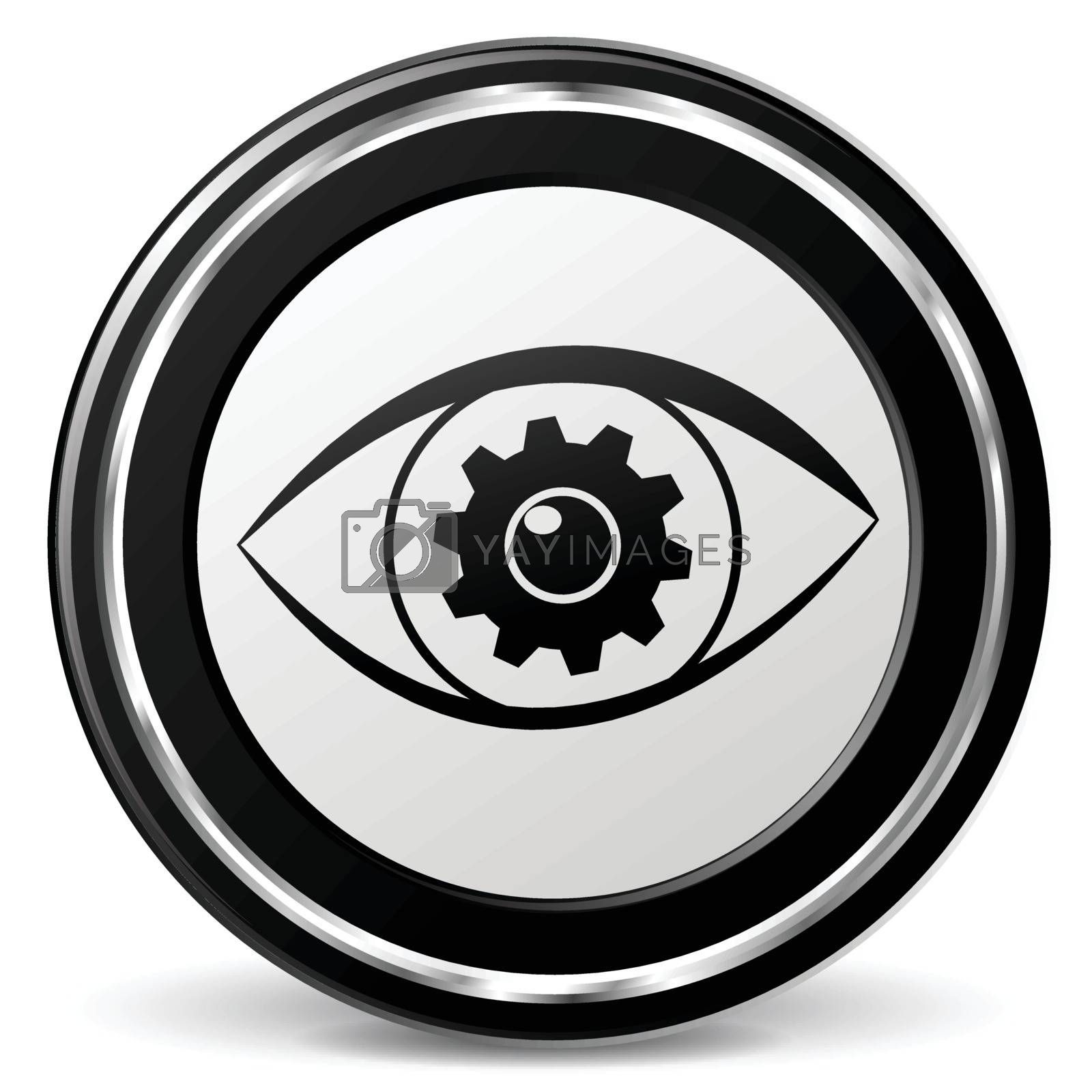 illustration of search eye black and silver icon