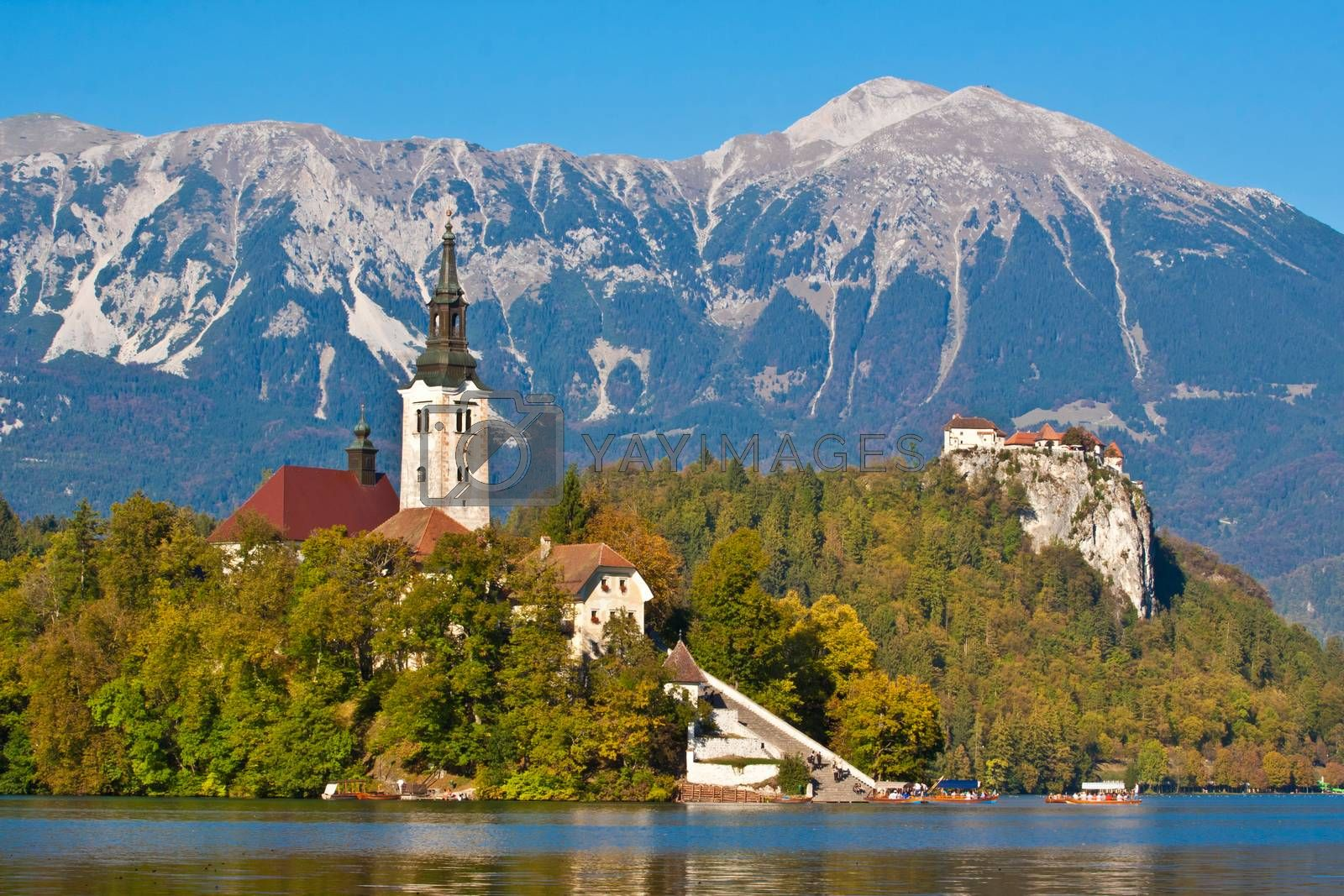 Panorama of Bled in autumn. by kasto