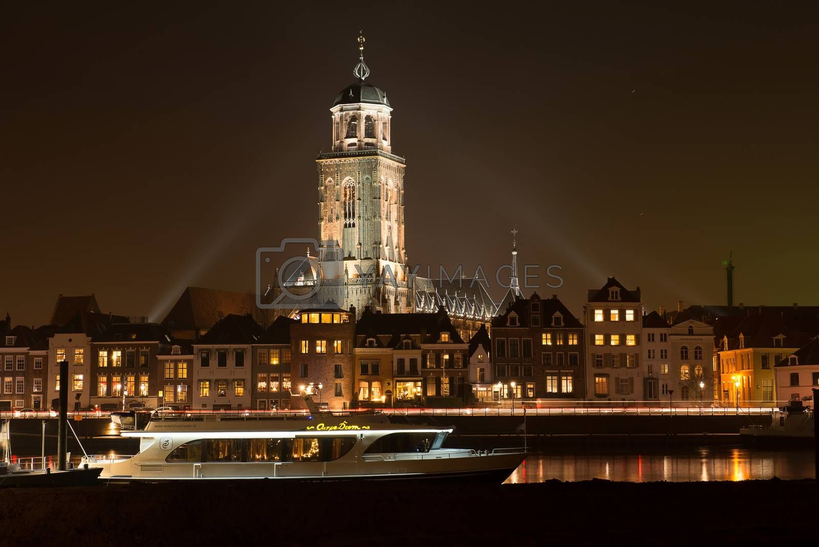 Illuminated skyline of the city of Deventer in the center of the Netherlands because of a special Char-les Dickens weekend