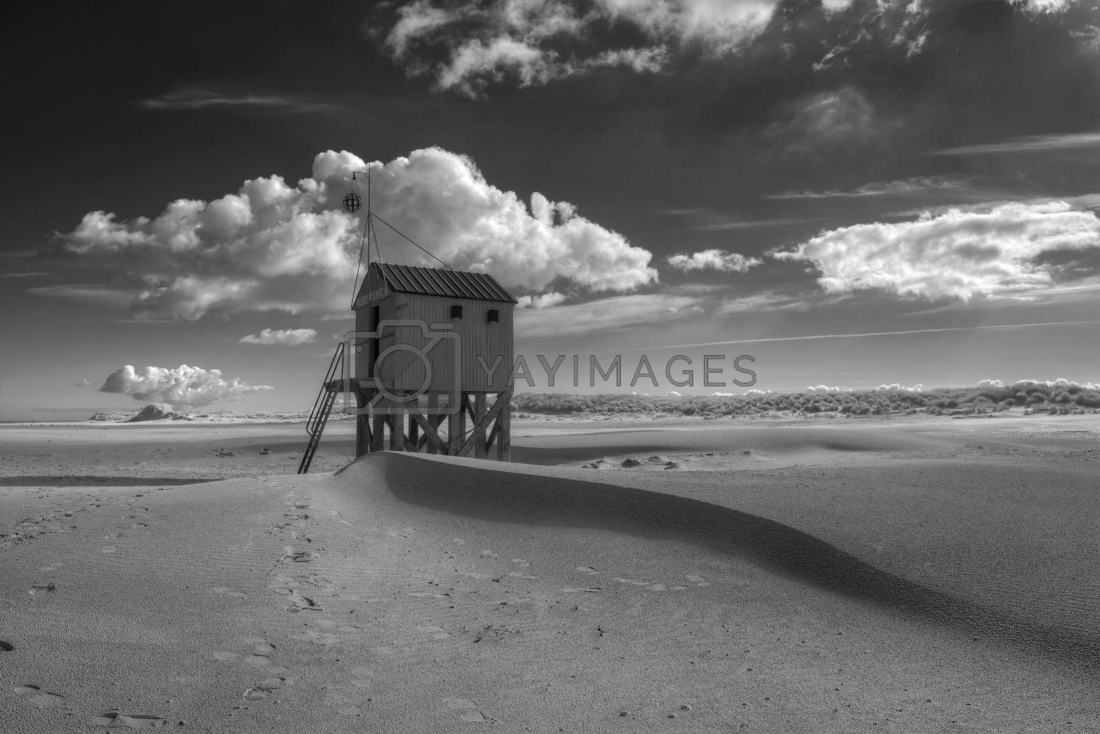 Beach hut on the island of Terschelling in the Netherlands. Authentic wooden beach hut, for shelter, on the island of Terschelling in the Netherlands.