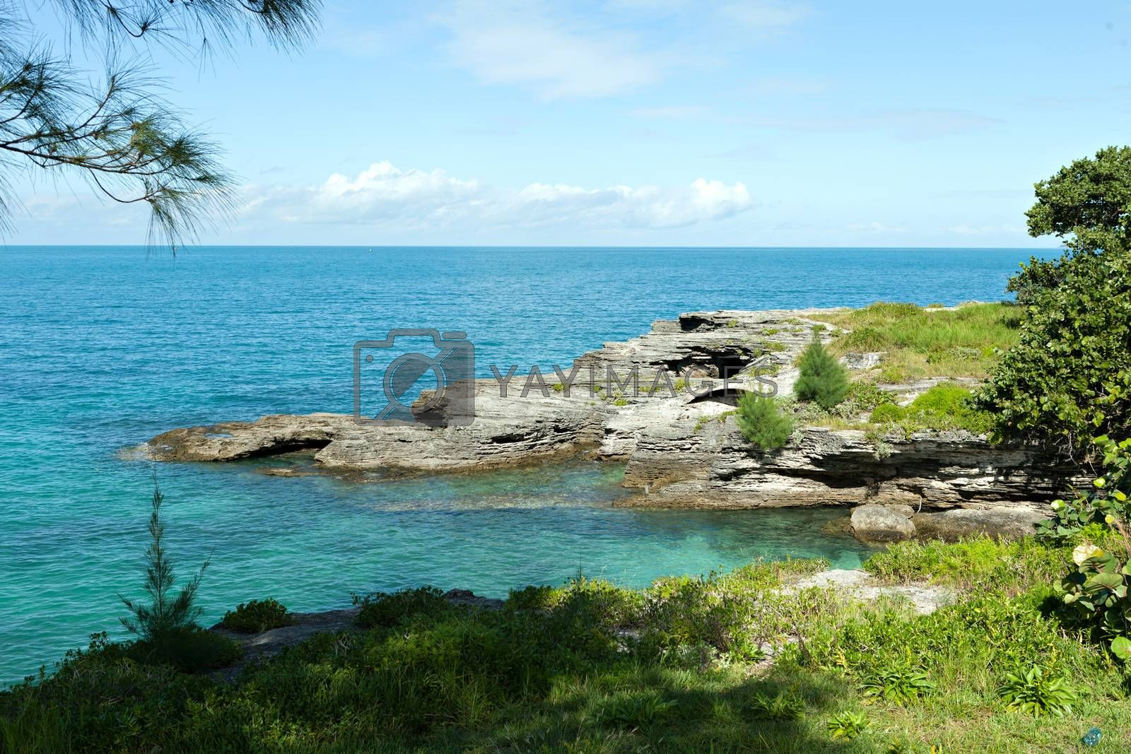 Bermuda coast with aqua blue tropical waters and rock formations complete with small caves.