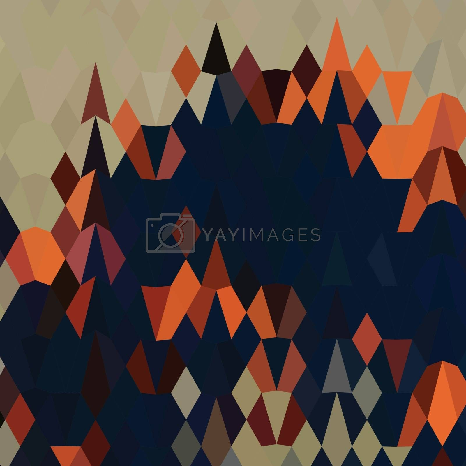 Low polygon style illustration of orange blue abstract background.