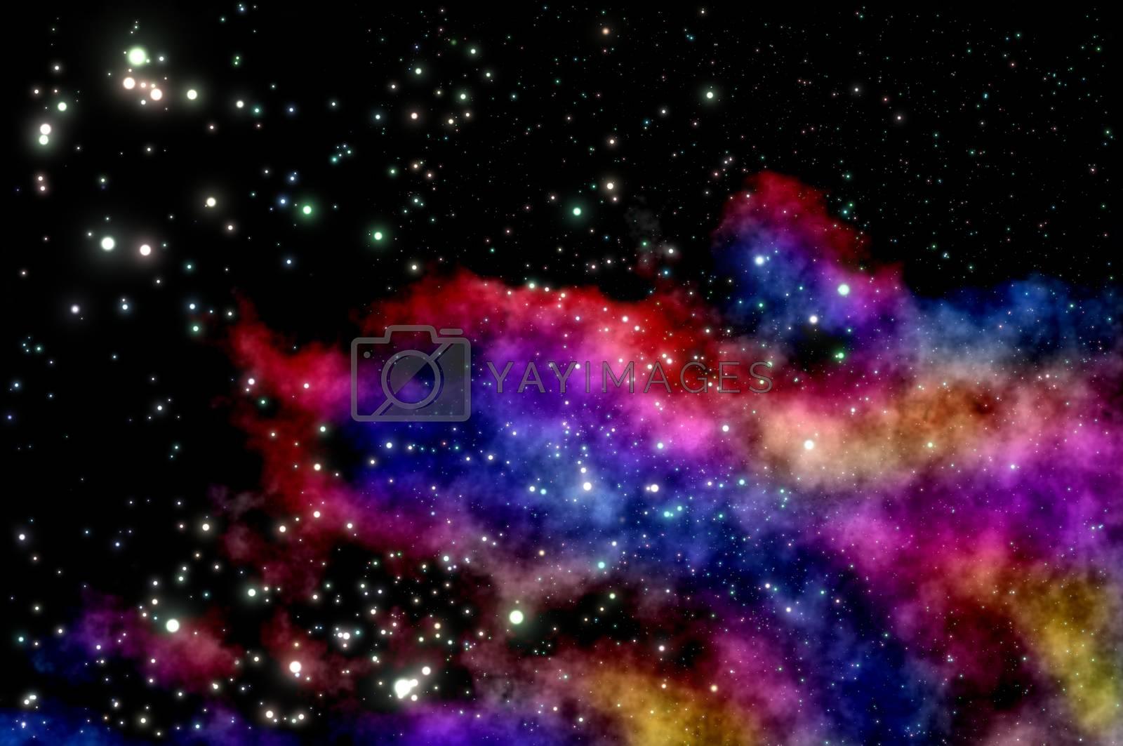 stars shine through the clouds of a new nebula