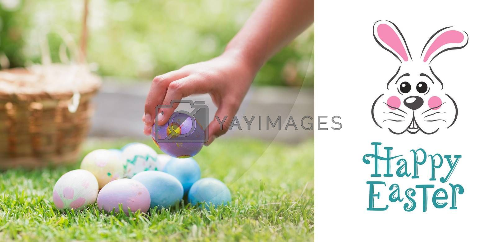 Little girl collecting easter eggs  against easter bunny with greeting