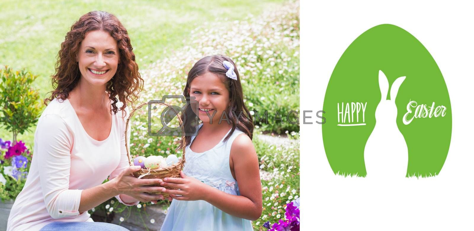 Happy mother and daughter collecting easter eggs against happy easter graphic