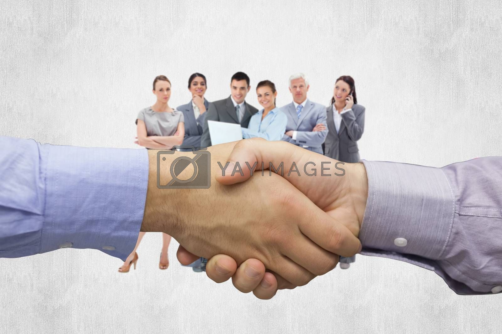 Hand shake in front of wires against white background