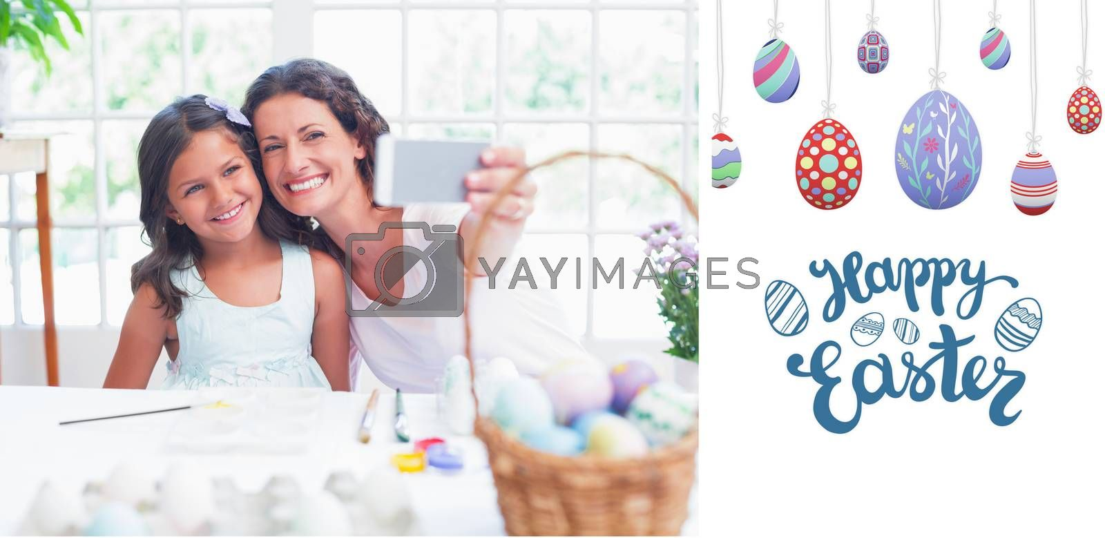 Happy mother and daughter taking selfie against happy easter graphic