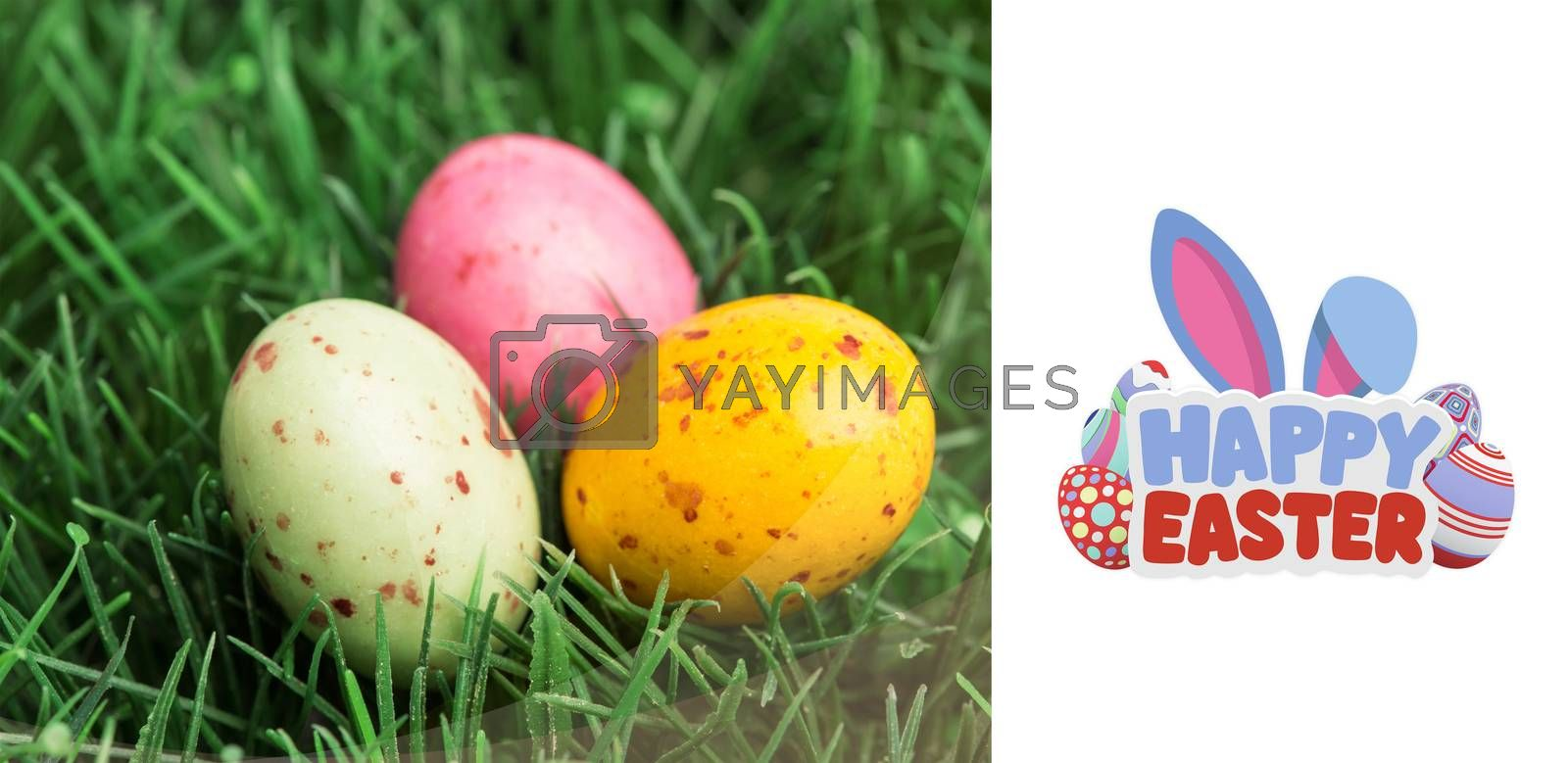 happy easter against three little easter eggs