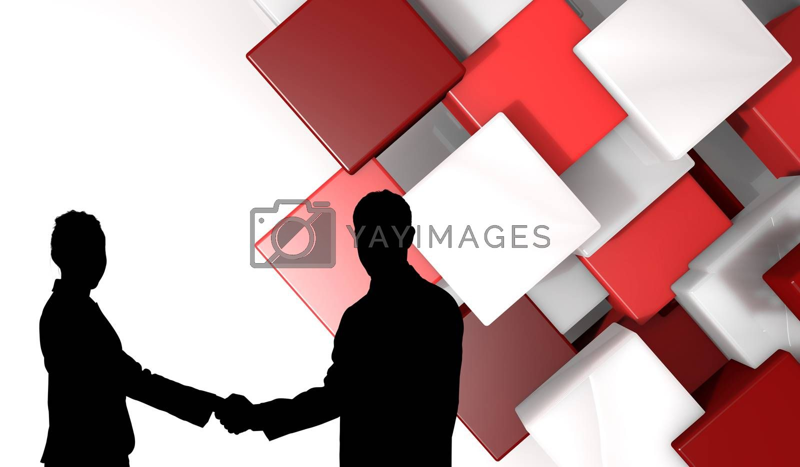 Smiling business people shaking hands while looking at the camera against abstract tile design
