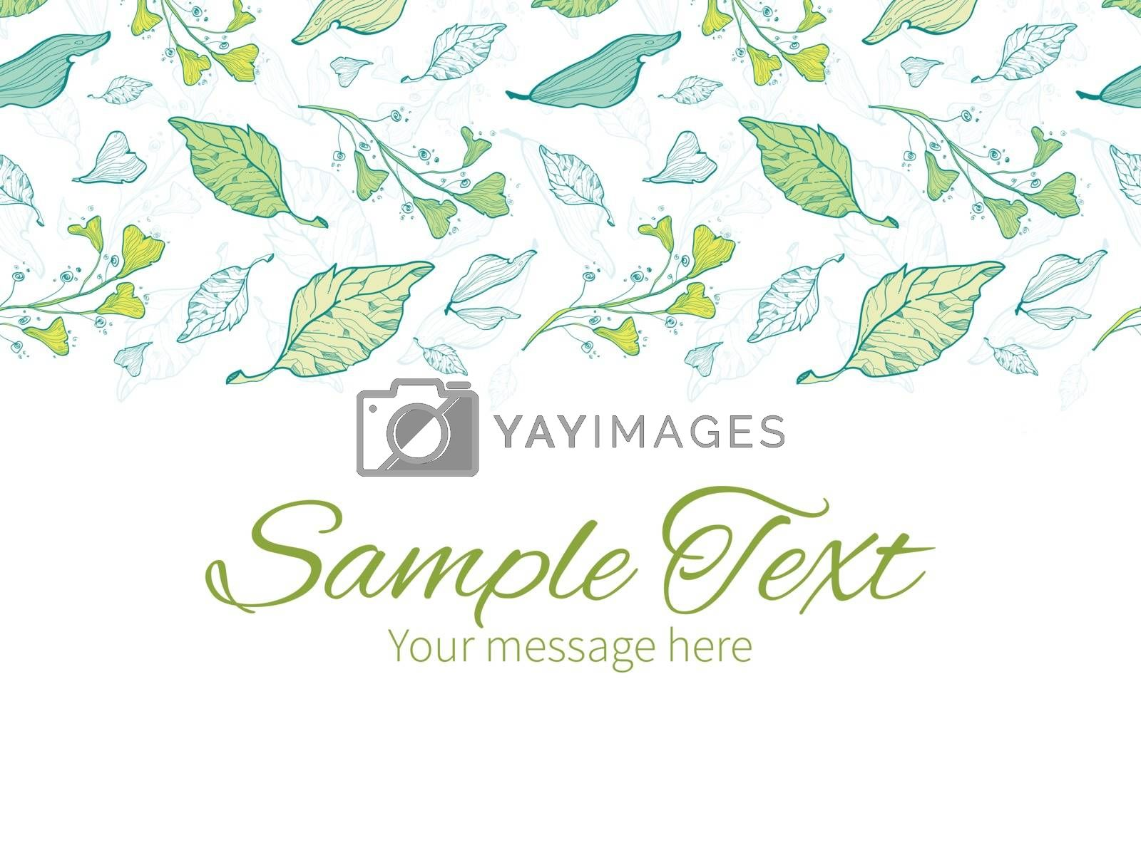 Vector lineart spring leaves horizontal border greeting card invitation template graphic design