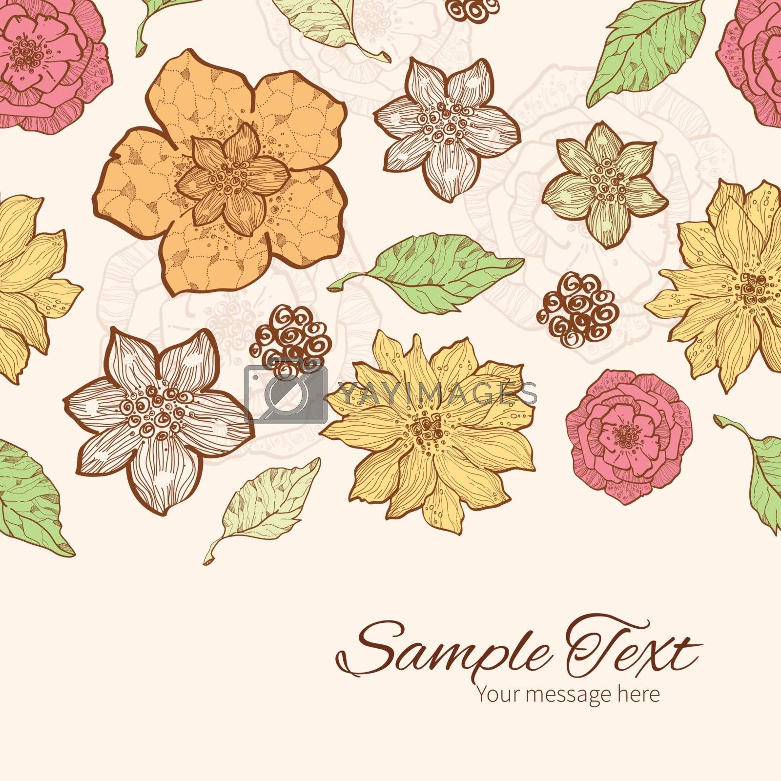 Vector warm fall lineart flowers horizontal border card template graphic design