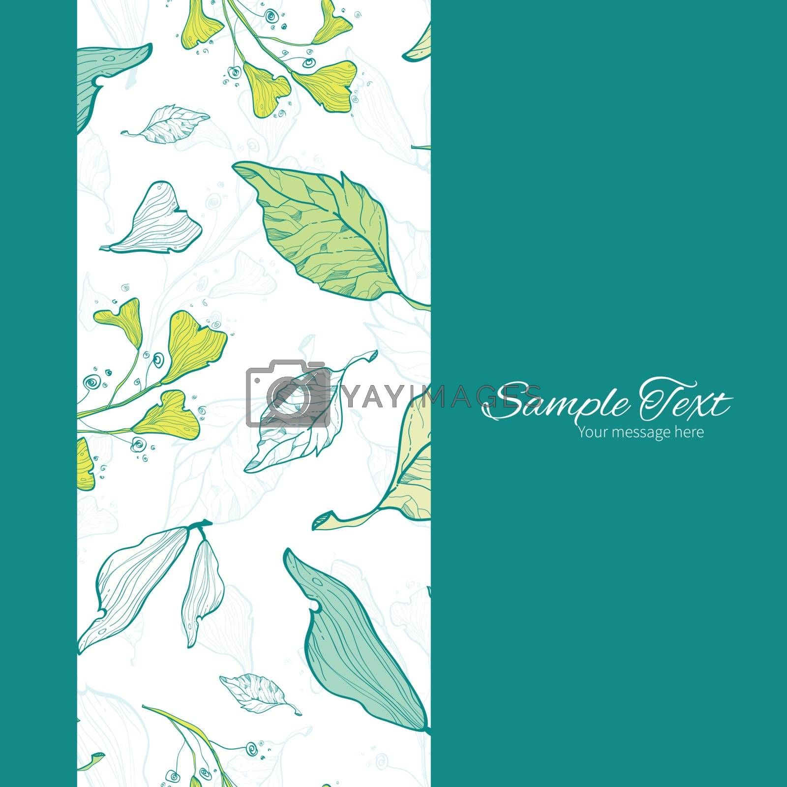 Vector lineart spring leaves vertical frame seamless pattern background graphic design