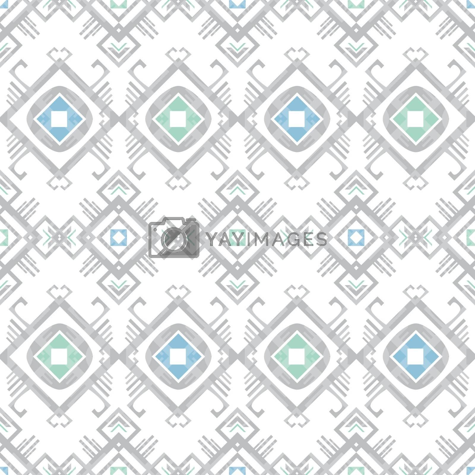 Vector grey blue tribal geometric seamless pattern graphic design