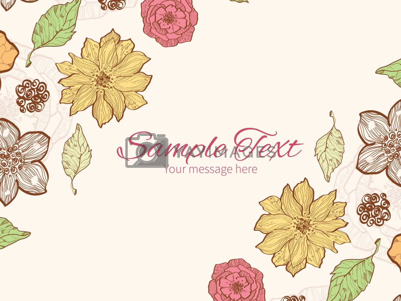 Vector warm fall lineart flowers horizontal double corners frame invitation template graphic design