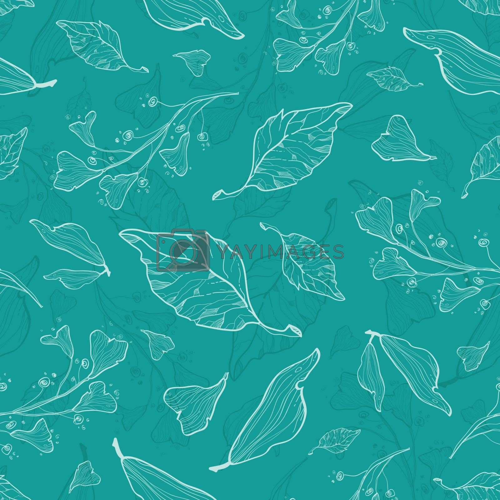Vector flying green leaves seamless pattern graphic design