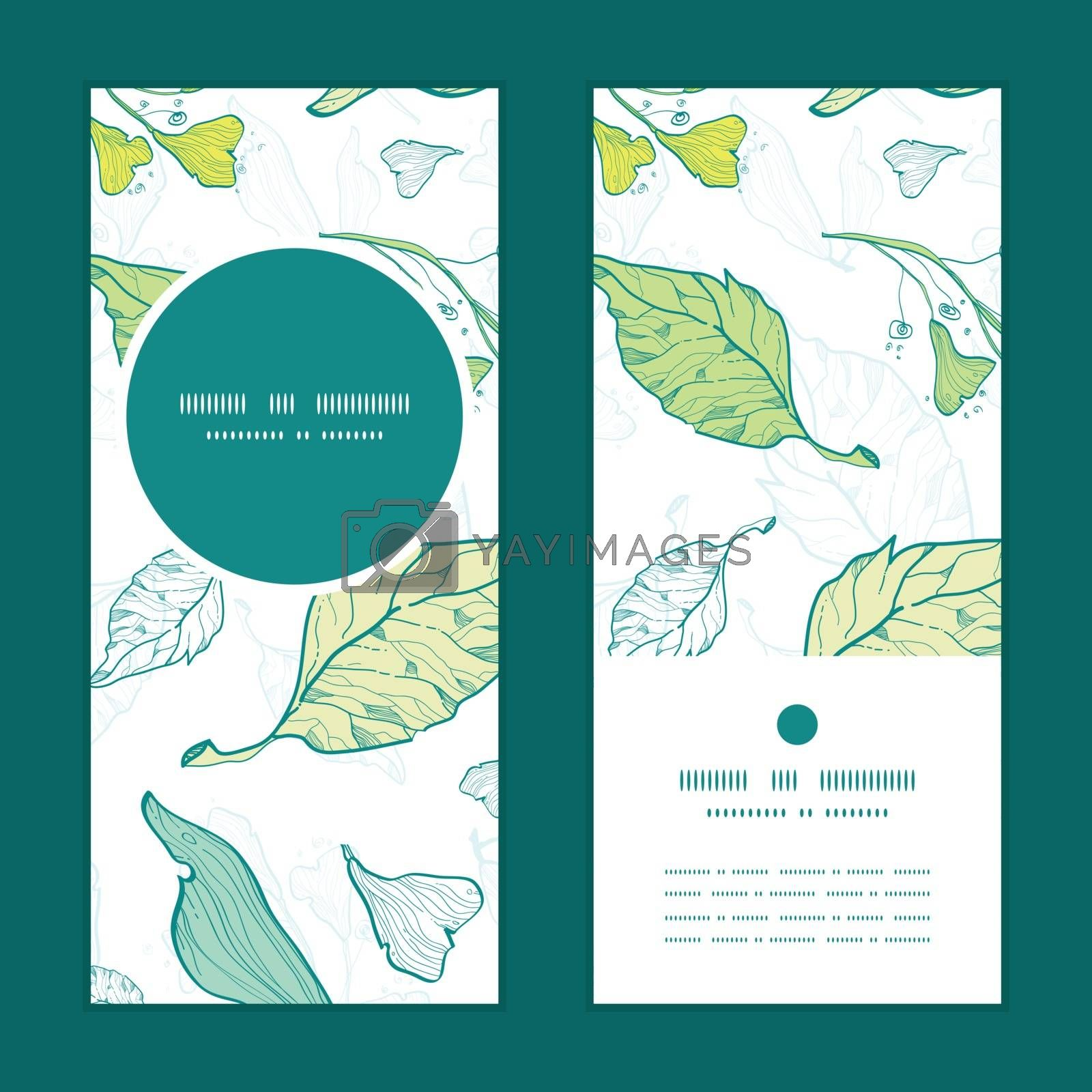 Vector lineart spring leaves vertical round frame pattern invitation greeting cards set graphic design