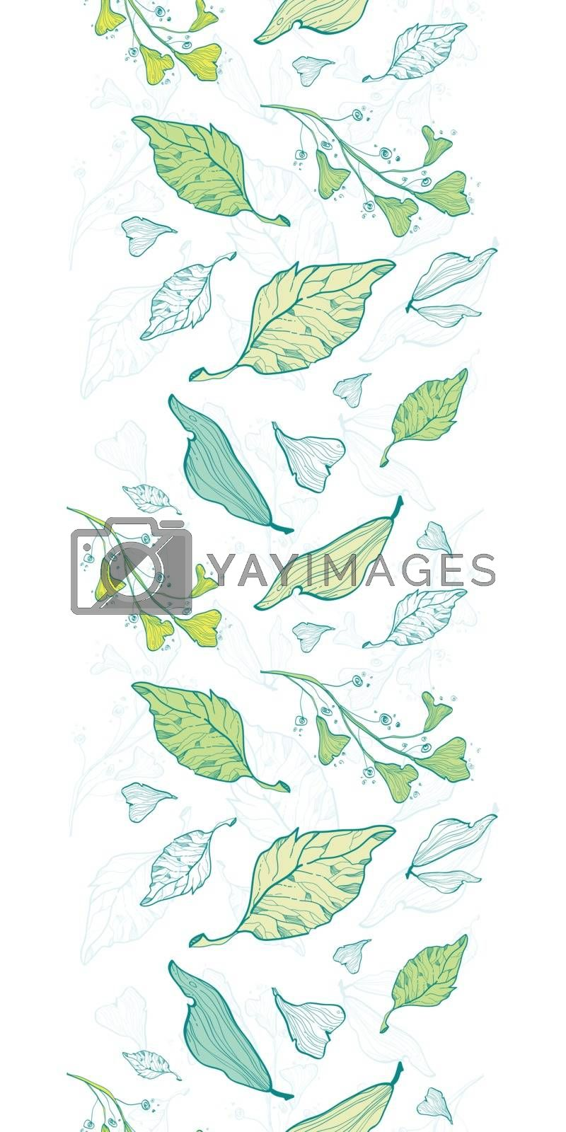 Vector lineart spring leaves vertical border seamless pattern background graphic design