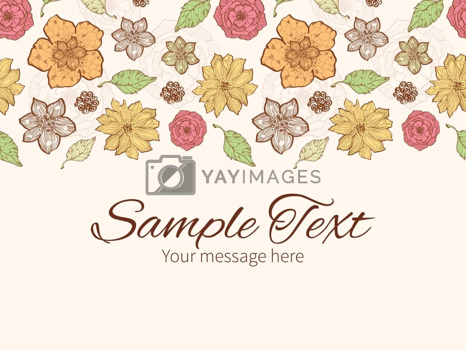 Vector warm fall lineart flowers horizontal border greeting card invitation template graphic design