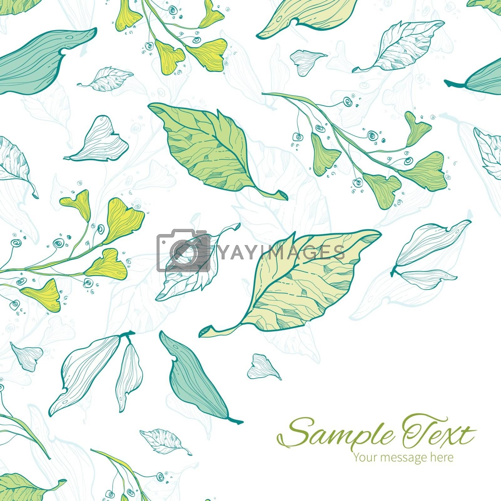 Vector lineart spring leaves frame corner pattern background graphic design
