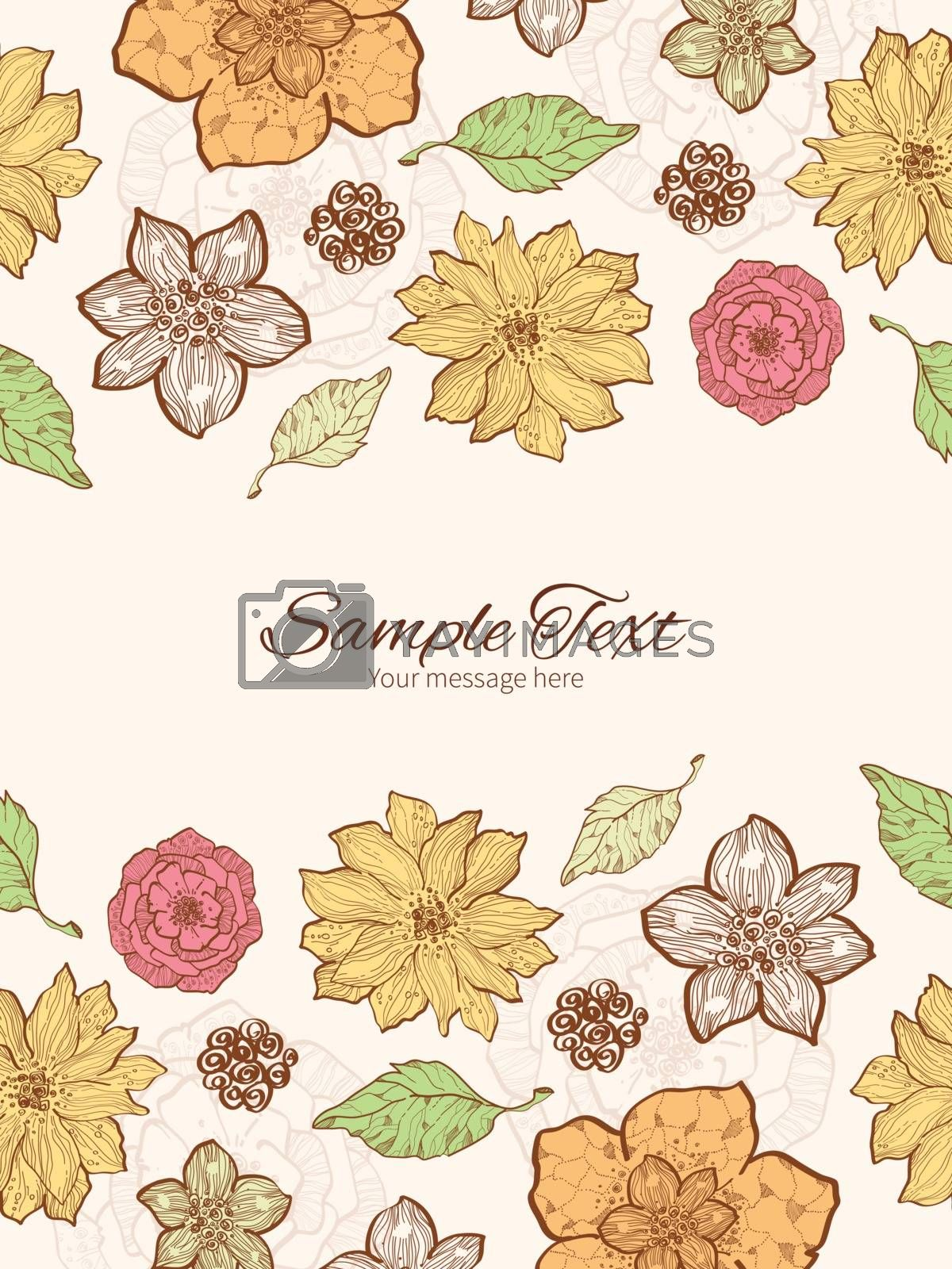 Vector warm fall lineart flowers vertical double borders frame invitation template graphic design