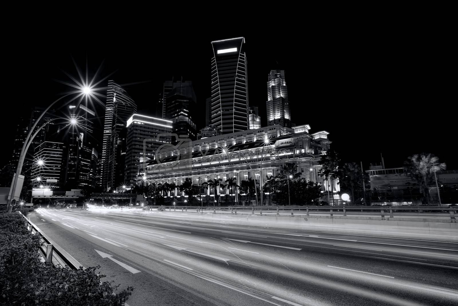 Light trails in the financial district of Singapore