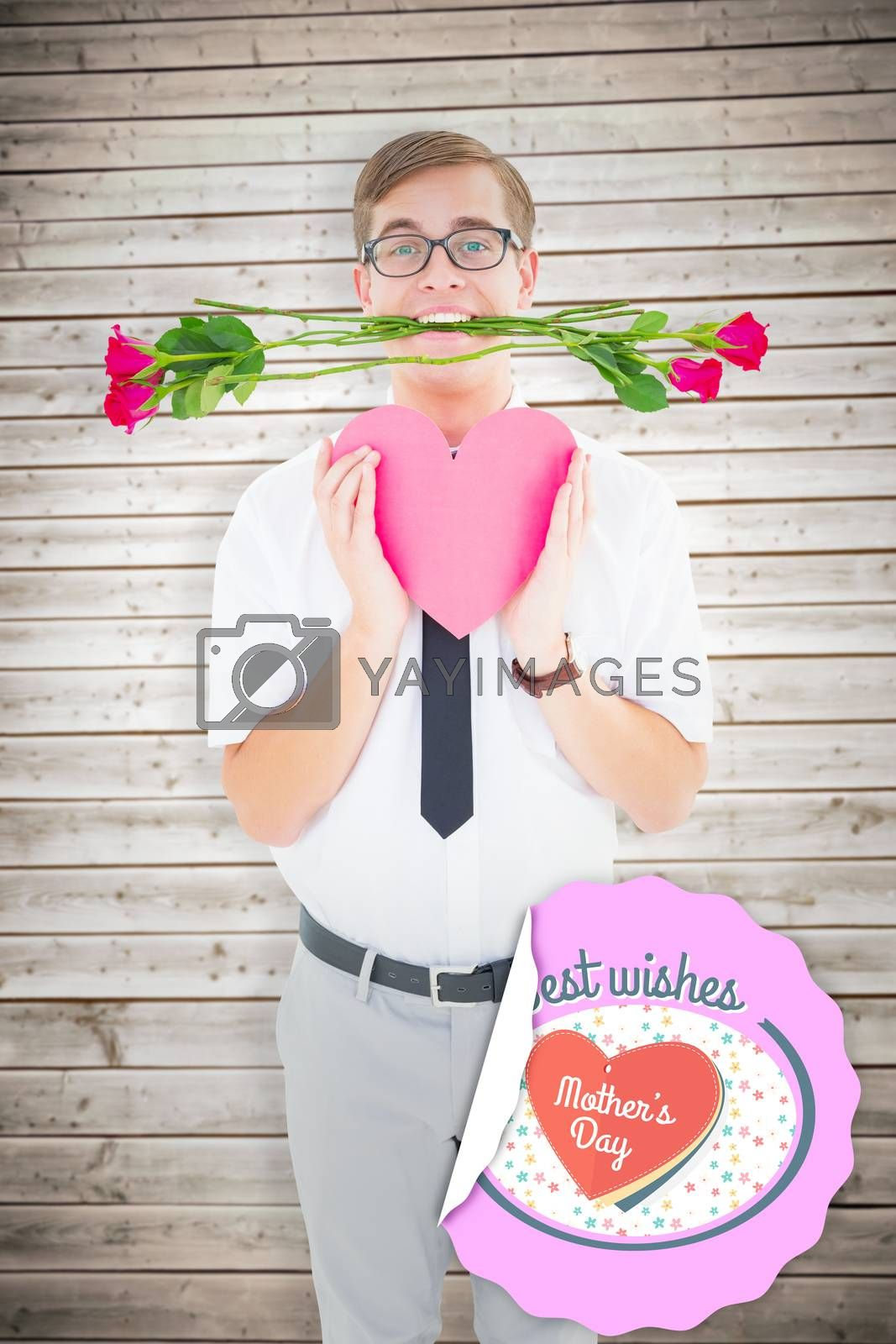 Geeky hipster holding red roses and heart card against wooden planks background
