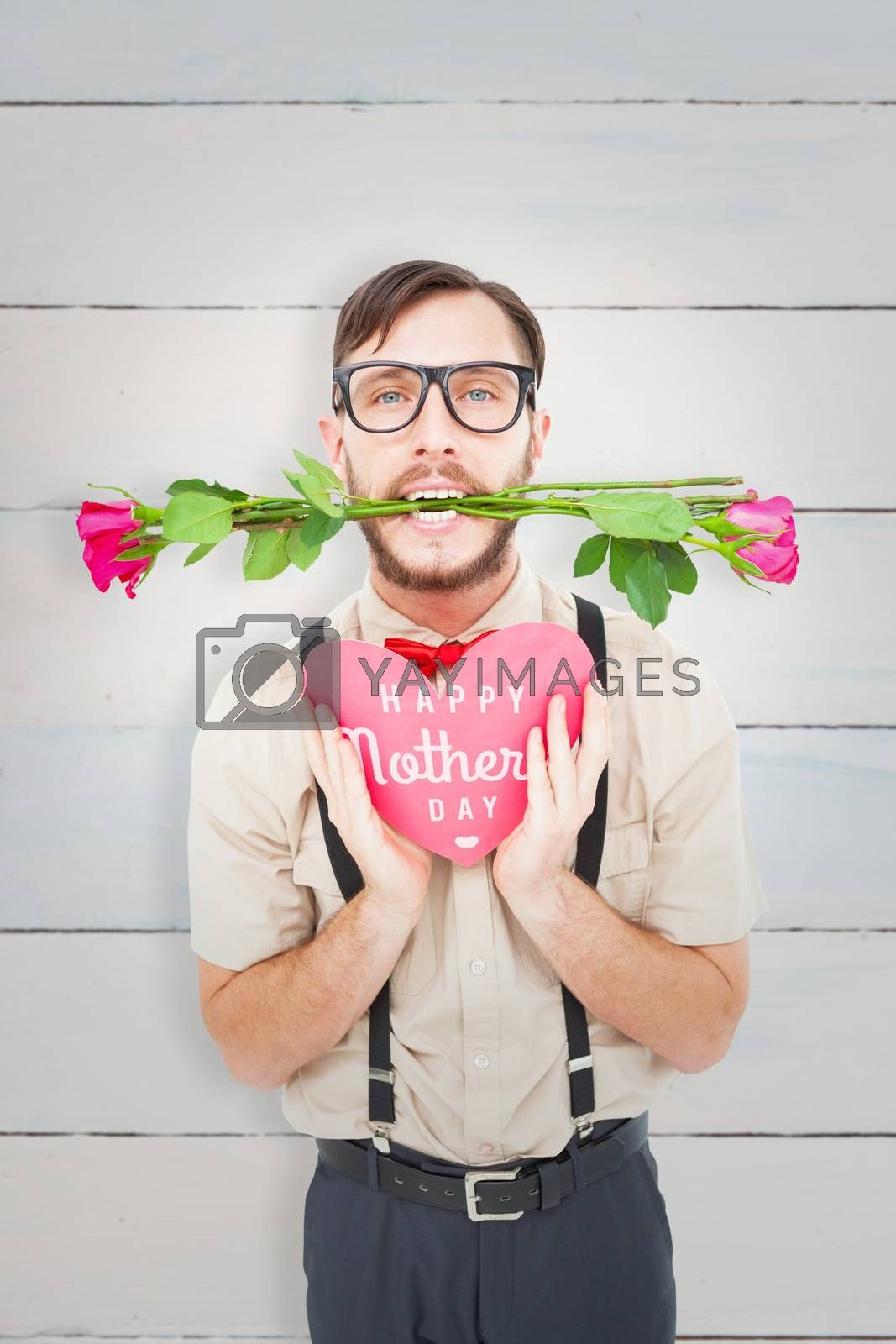 Geeky hipster offering valentines gifts against wooden planks