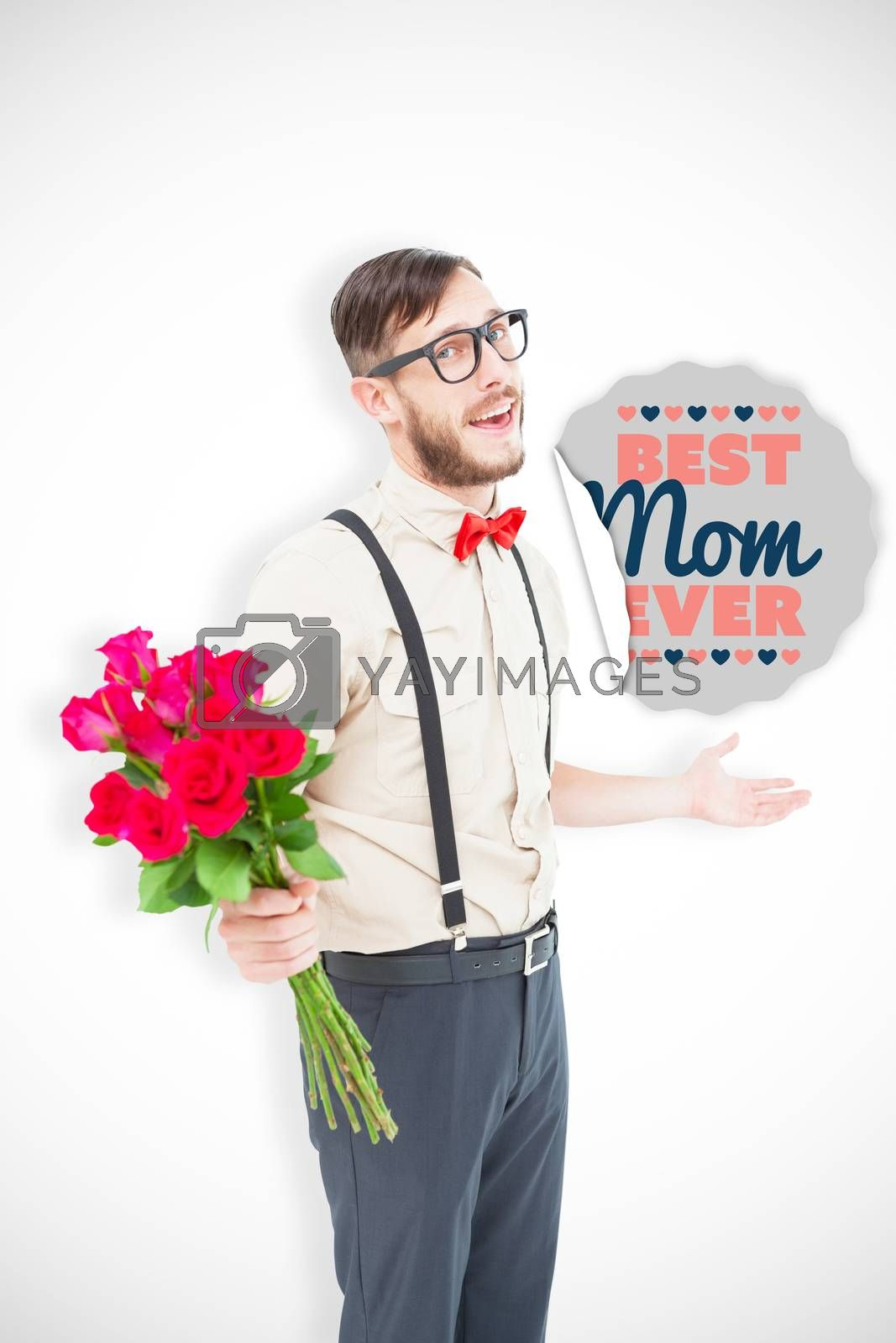 Geeky hipster offering bunch of roses against best mom ever