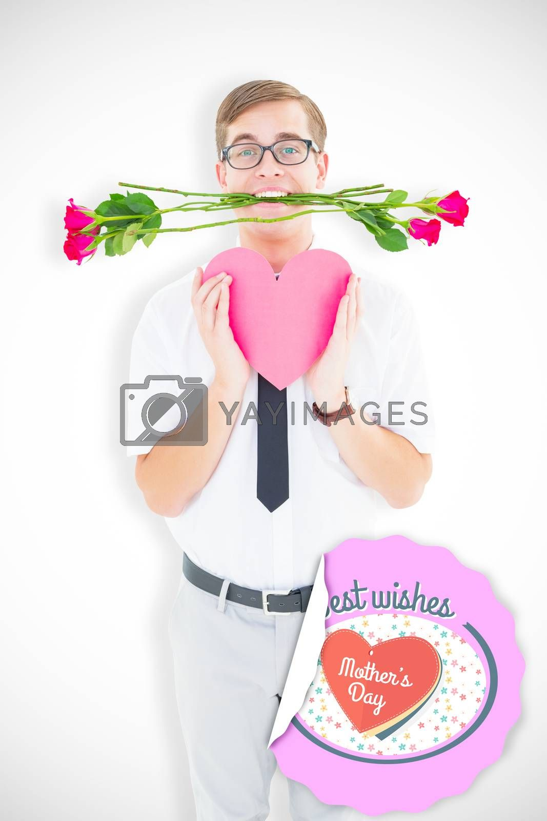 Geeky hipster holding red roses and heart card against mothers day greeting