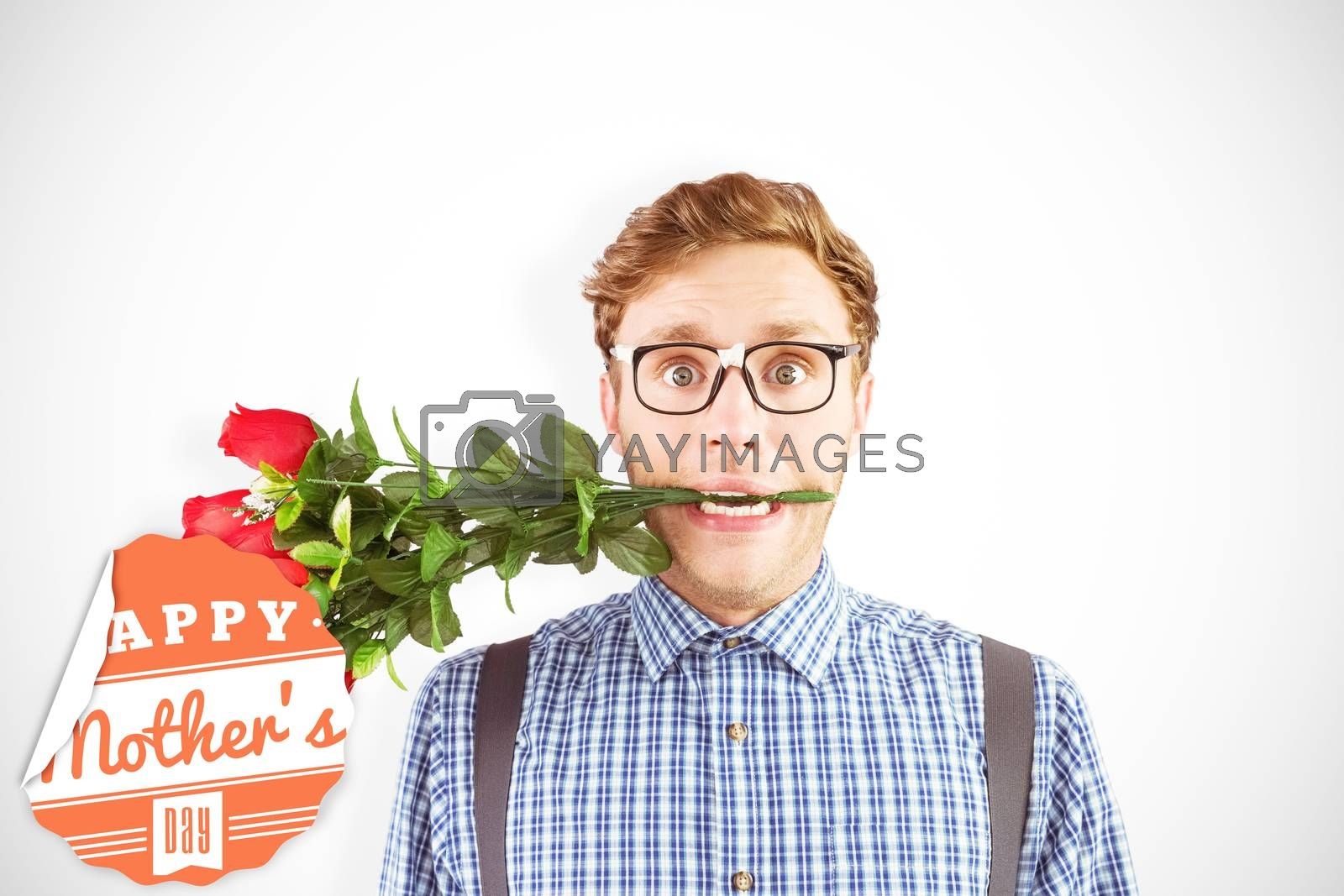 Composite image of geeky hipster biting a bunch of roses by Wavebreakmedia