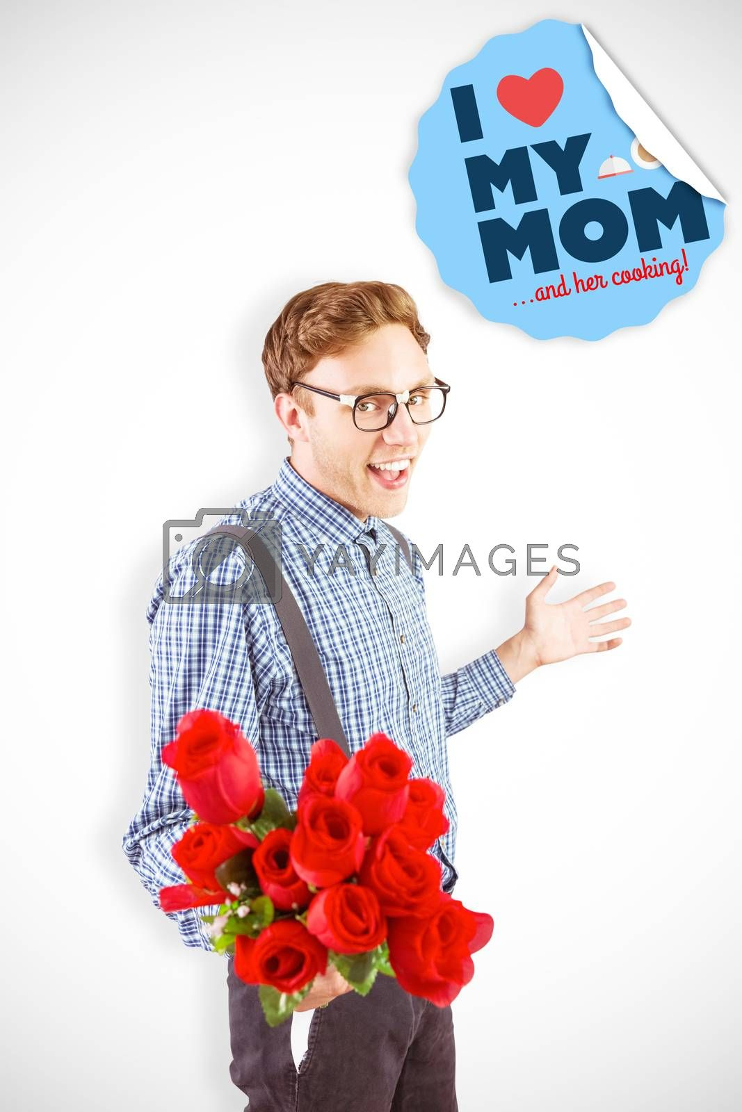Composite image of geeky hipster holding a bunch of roses by Wavebreakmedia