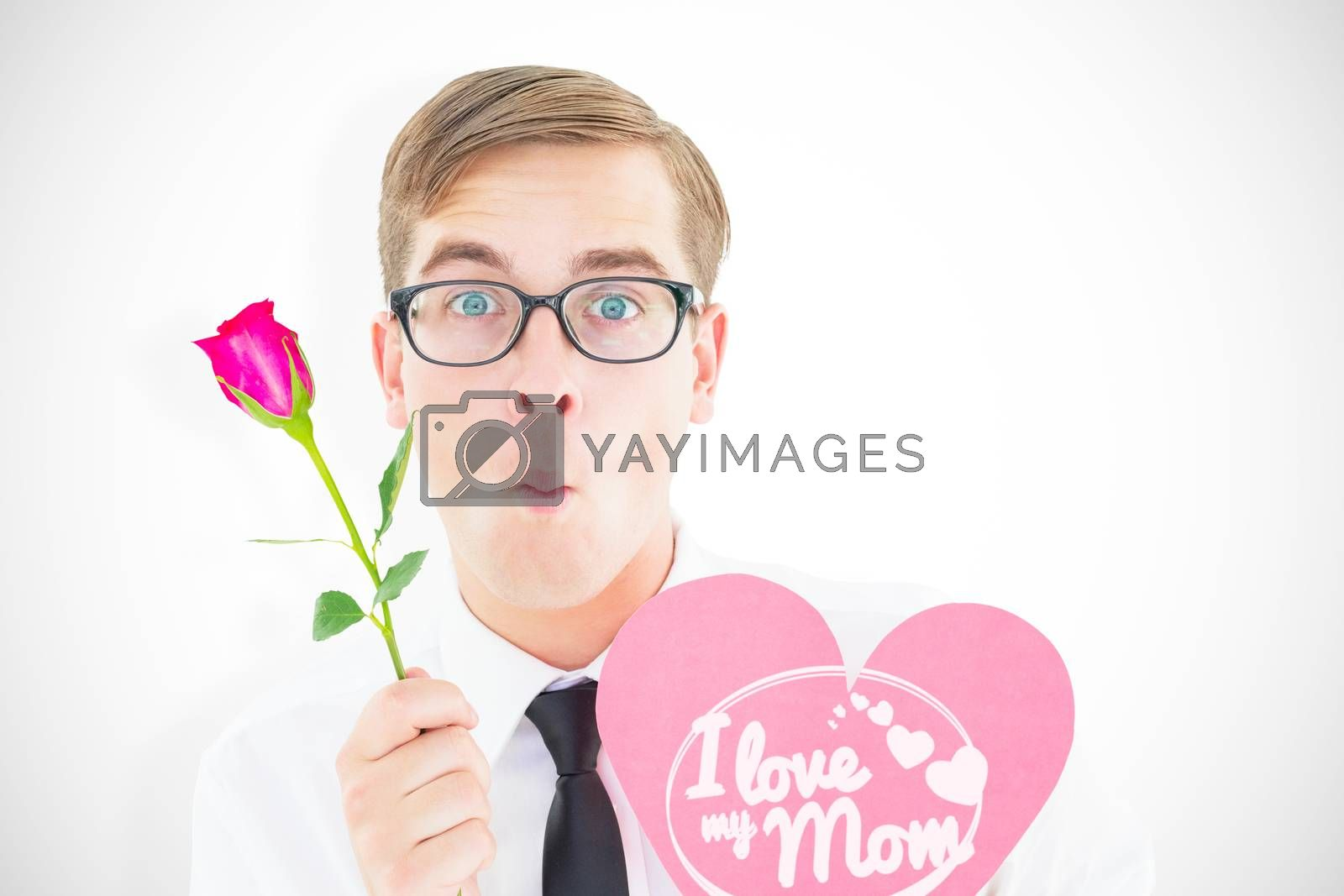 Composite image of geeky hipster holding a red rose and heart card by Wavebreakmedia