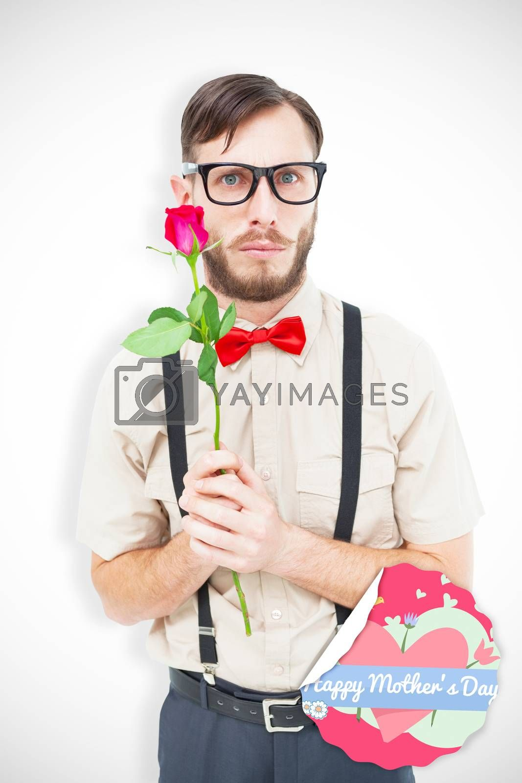 Geeky hipster offering a rose against mothers day greeting