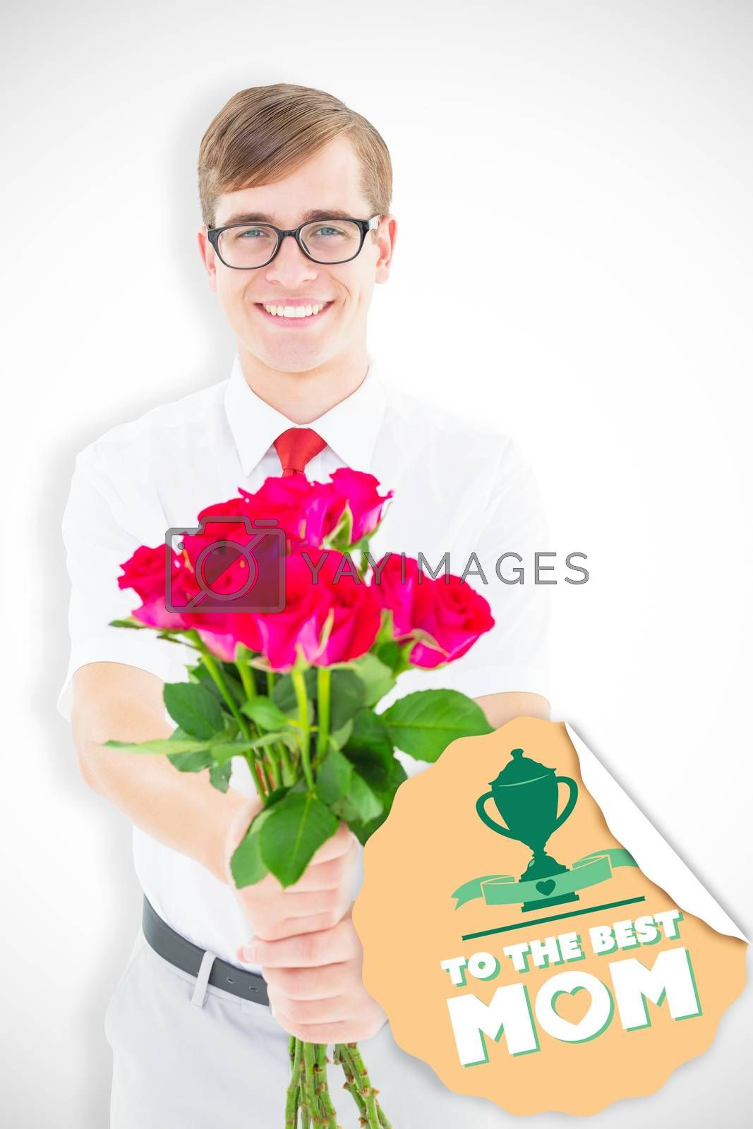 Geeky hipster offering bunch of roses against mothers day greeting