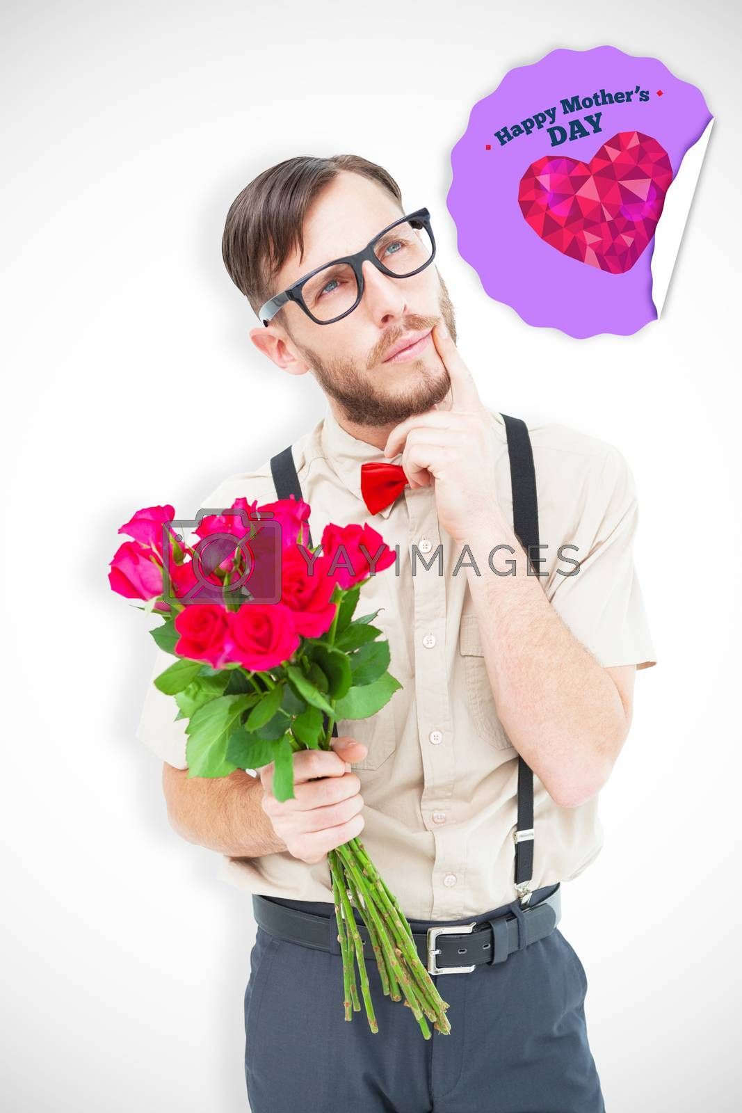 Composite image of geeky hipster offering bunch of roses by Wavebreakmedia