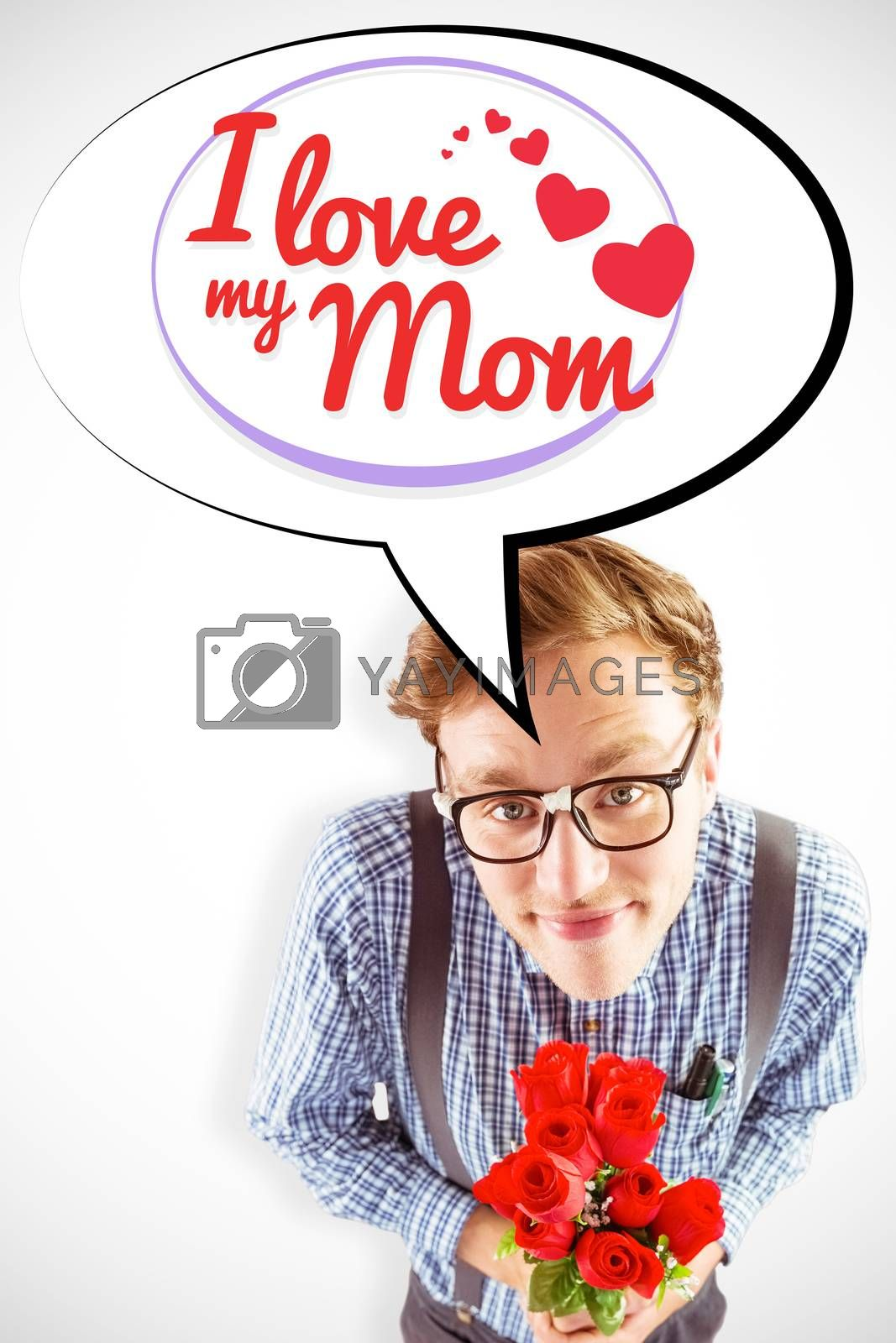 Geeky hipster holding a bunch of roses against mothers day greeting