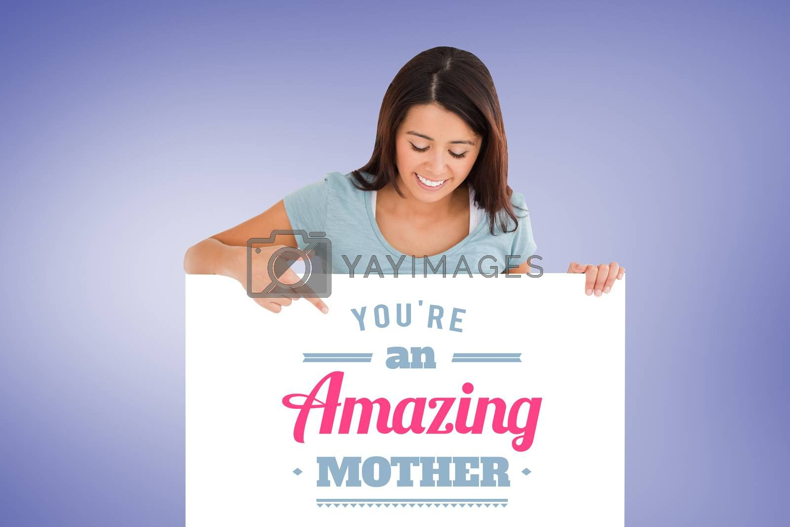 Portrait of a beautiful woman pointing at a board against purple vignette