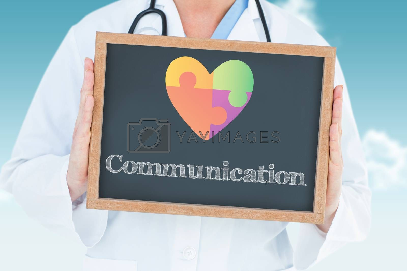 The word communication and doctor showing chalkboard against blue sky