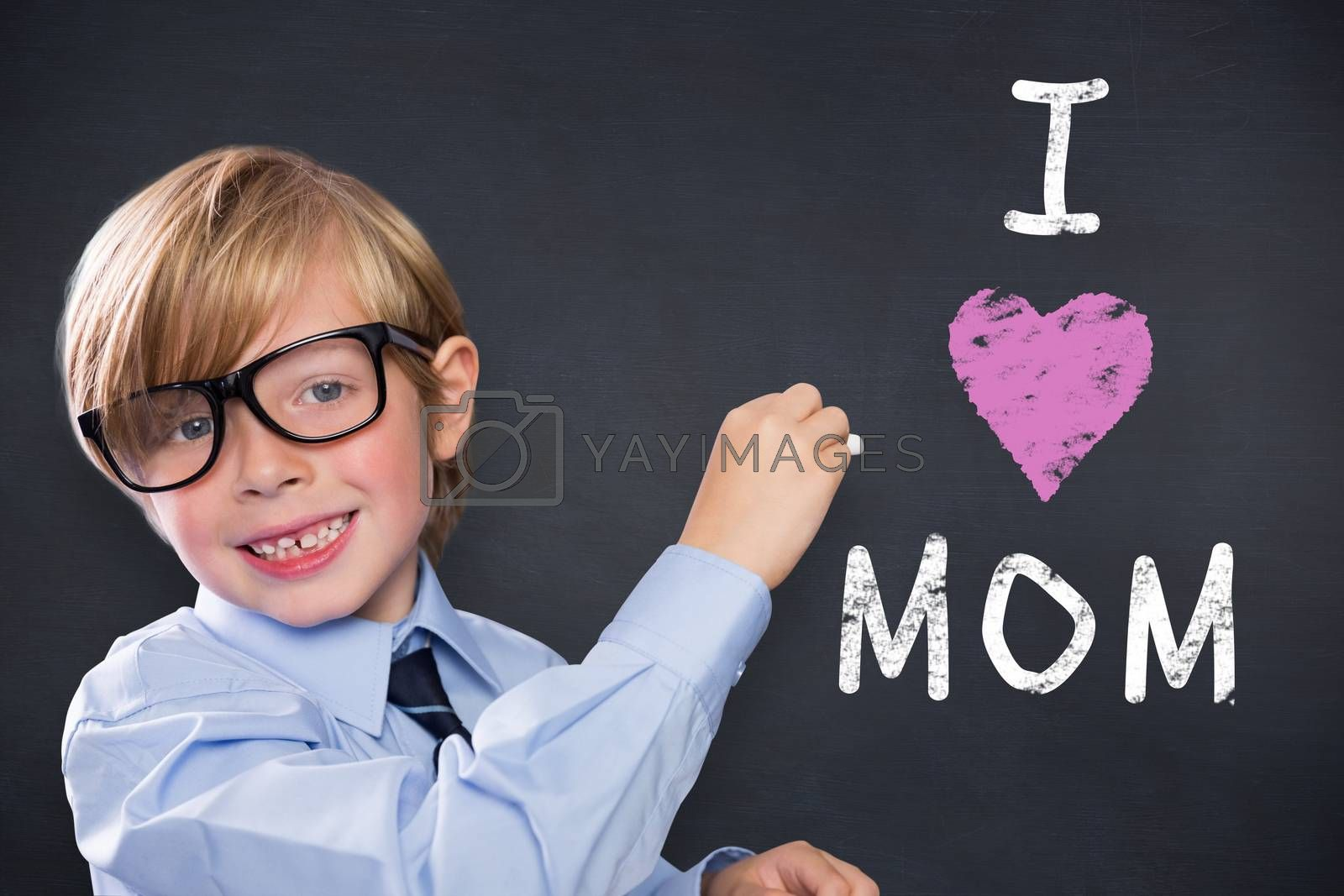 Cute pupil writing against black background