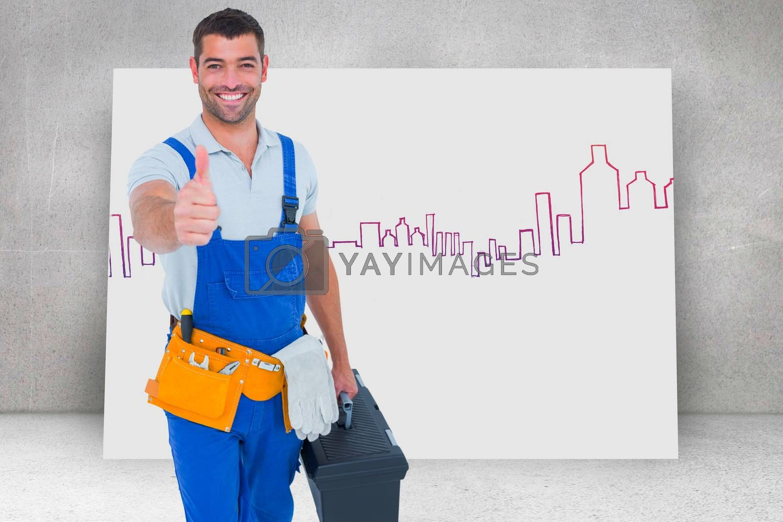 Happy repairman with toolbox gesturing thumbs up against composite image of white card