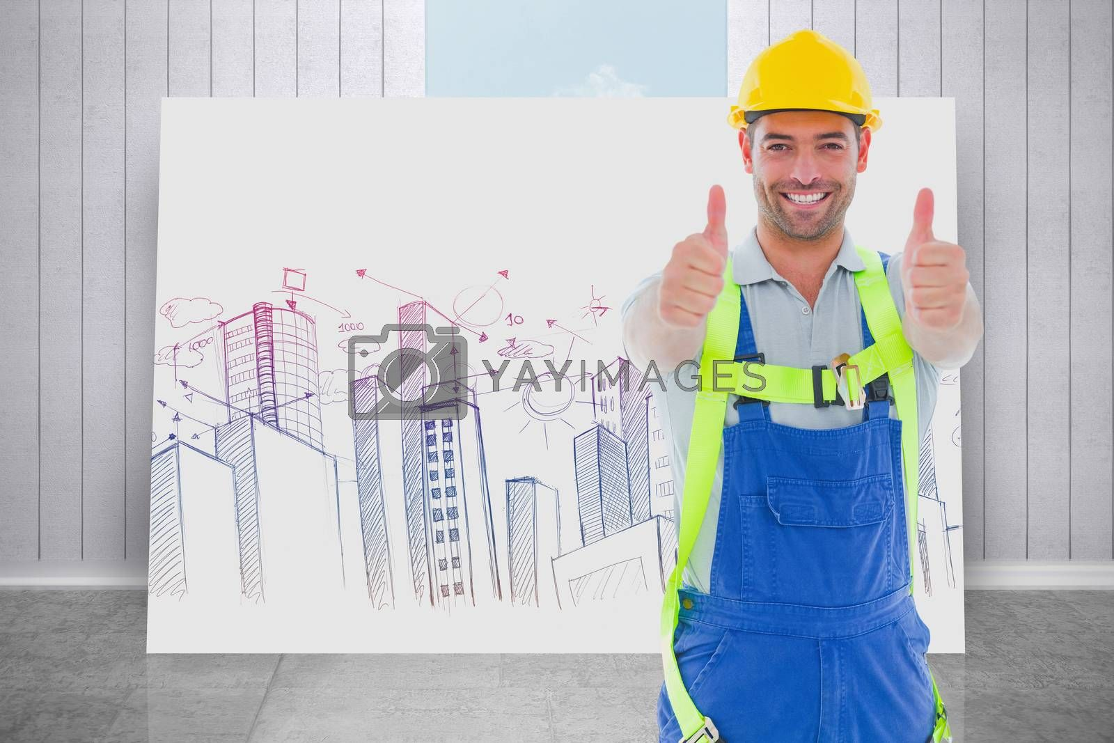 Builder in safety gear against composite image of white card