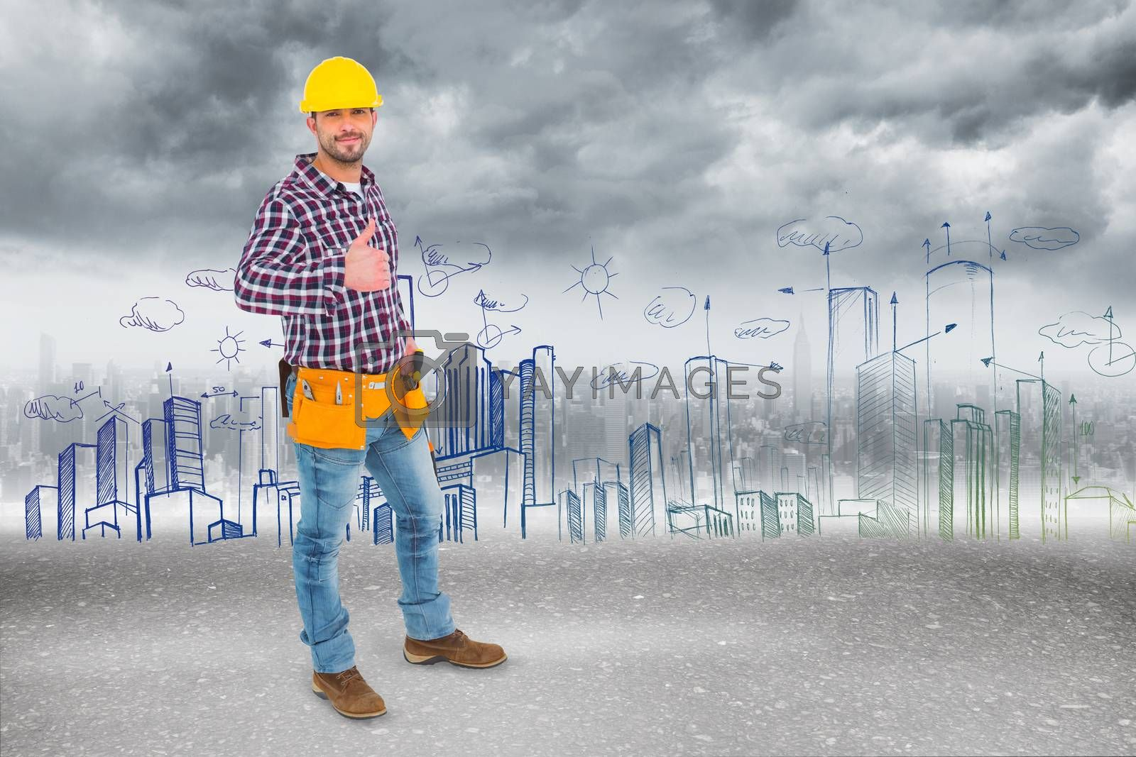 Smiling handyman gesturing thumbs up against road