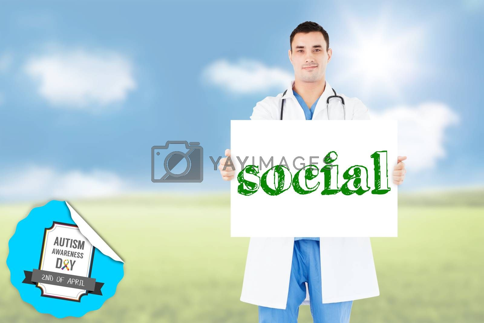 The word social and portrait of a doctor holding a blank panel against sunny green landscape